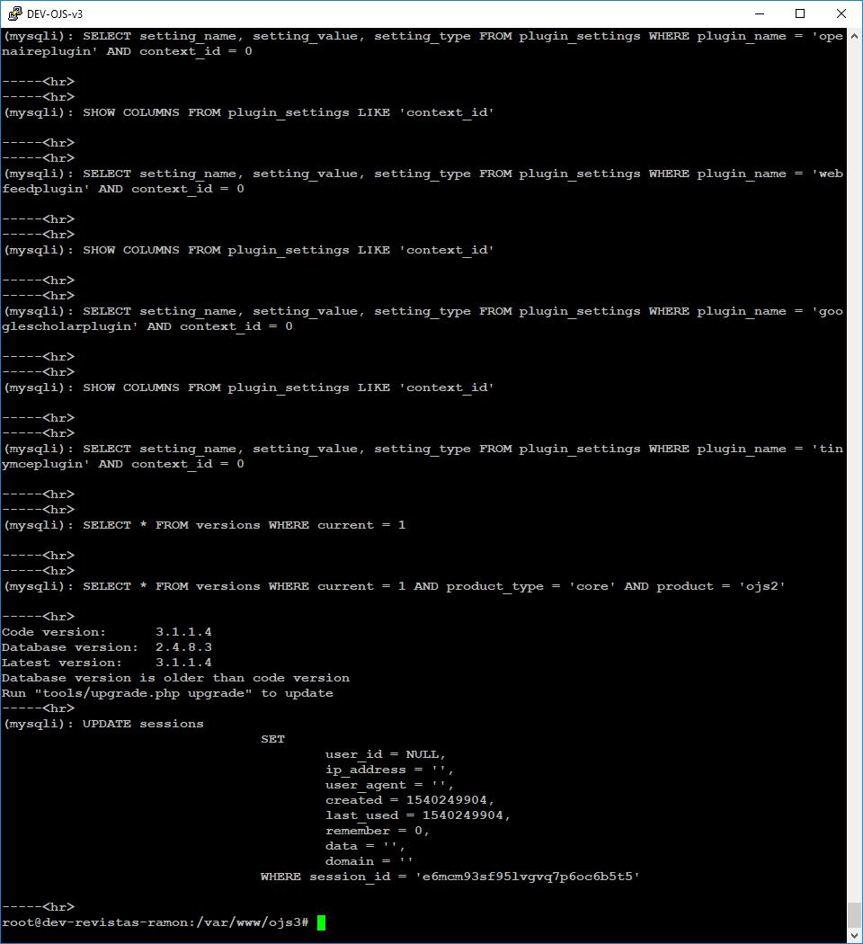 OJS 3] Database upgrade problem? - Questions - PKP Community Forum