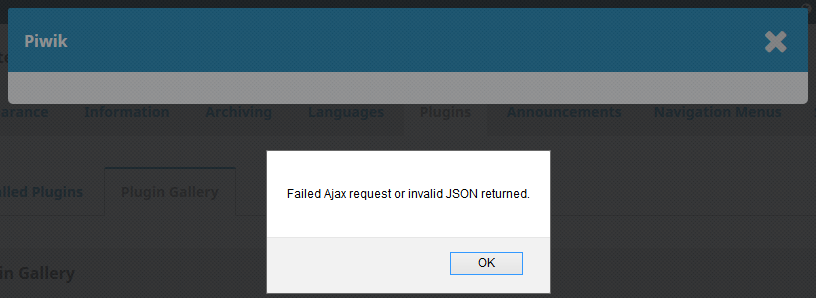 Failed Ajax request or invalid JSON returned when installing