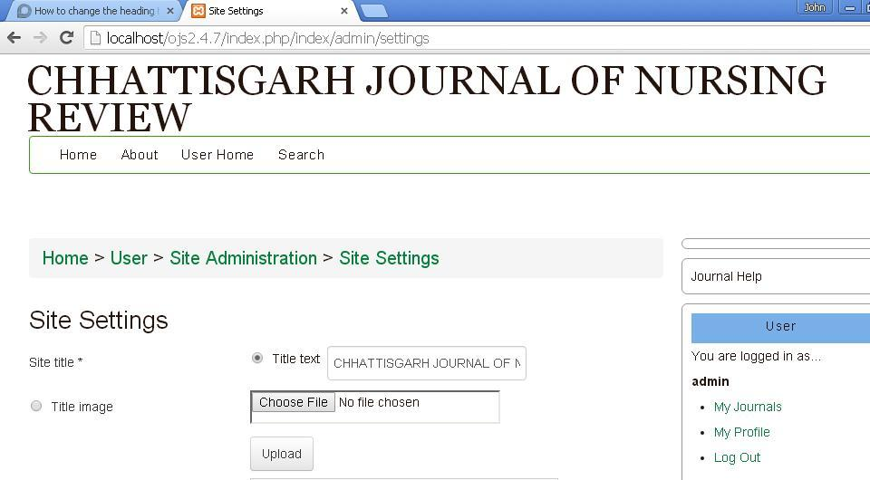 How to change the heading title of Registration page or Journals