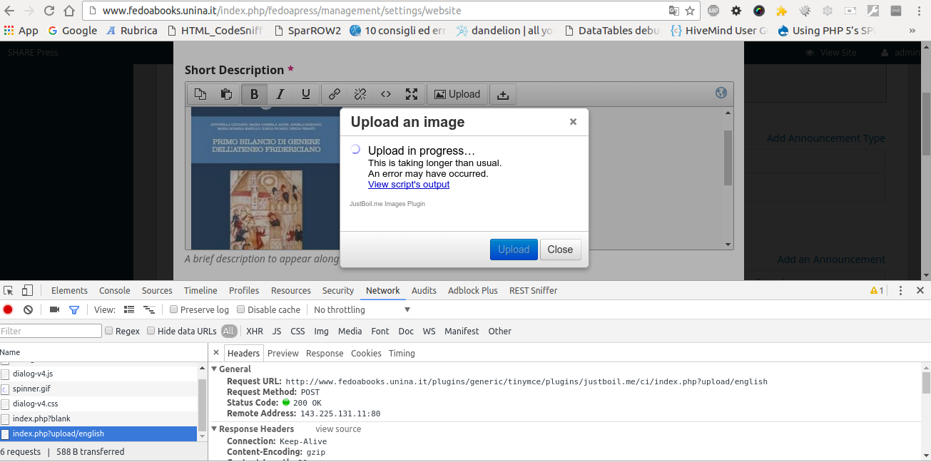 OMP 1 2: can't upload images with TinyMCE - Questions - PKP