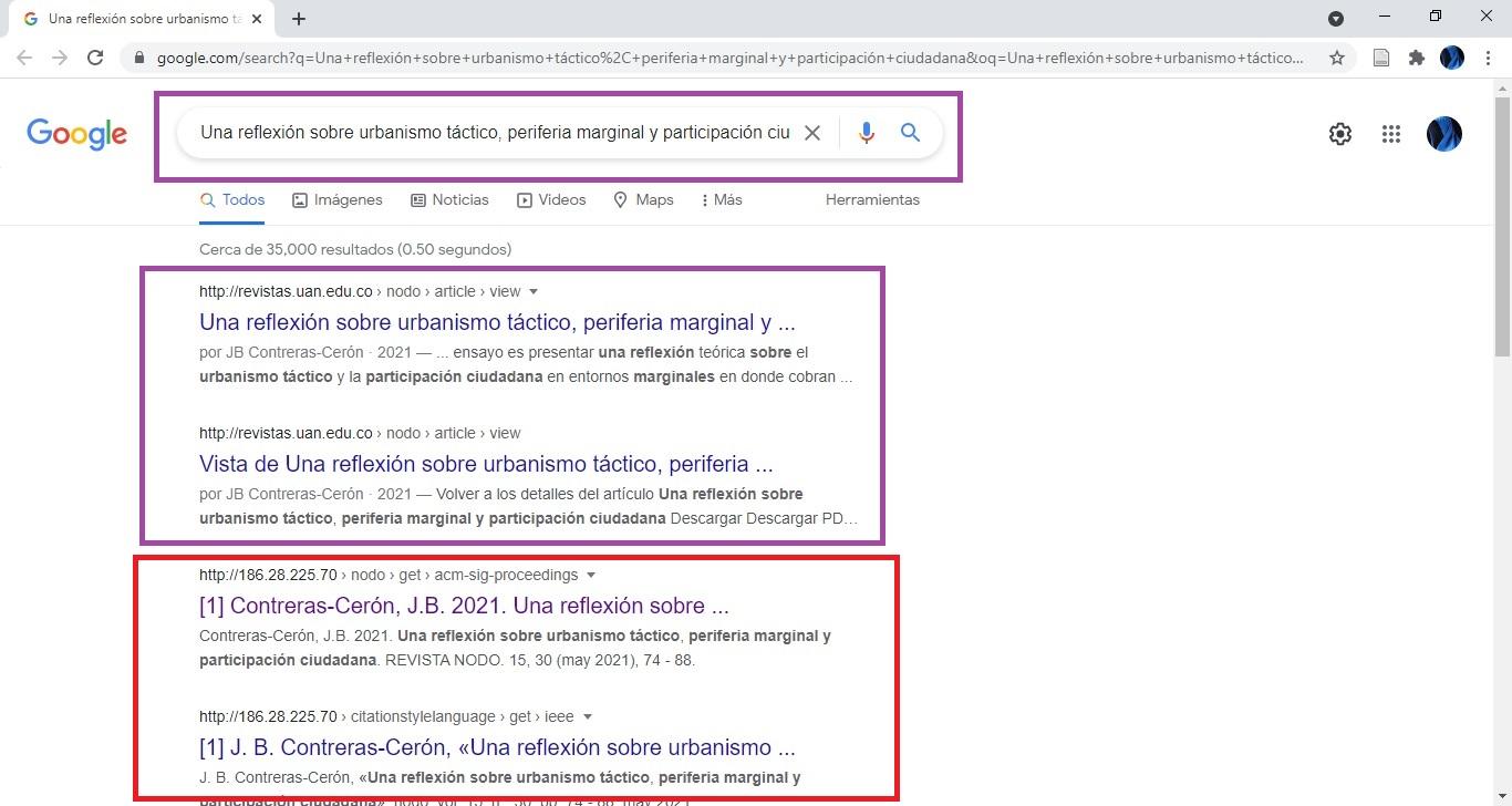OJS UAN - Vista error indexacion Google